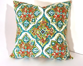 Watercolor Red And Green Outdoor Pillow Cover, Watercolor Outdoor Pillow  Cover, Outdoor Decorative Pillow