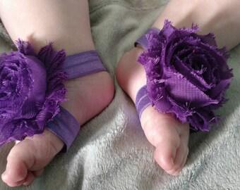Purple Barefoot Baby Sandals
