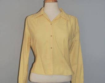 1950's Yellow fitted long sleeve shirt blouse, Pearl button, Vintage Geek Secretary blouse, Medium, Feminine preppy vintage