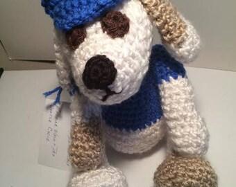 Handmade crochet baseball boy dog