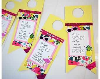 Wine bottle gift tag - tropical