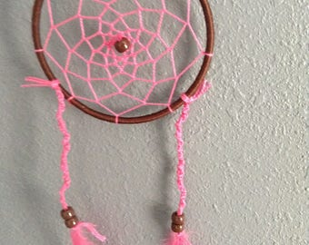 Handmade Pink and Brown Dream Catcher
