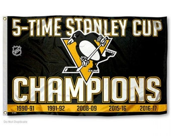 Pittsburgh Penguins 5x Stanley Cup Champions Flag (3' x 5')