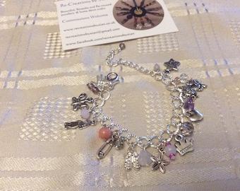 Girls Pink Charm Bracelet