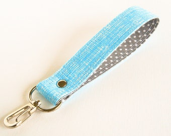 Blue Key Chain, Fabric Key Fob, Key Wrist Strap, Key Holder, Key Wristlet, Short Key Lanyard, Wrist Lanyard in Aqua Cross Hatch
