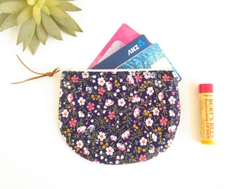 Floral Zipper Pouch, Zippered Coin Purse, Blue Change Pouch, Floral Coin Purse, Flowers Zipper Pouch, Credit Card Case, Small Fabric Purse