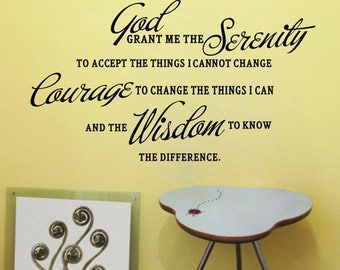 Serenity Prayer Vinyl Wall Sticker Inspirational Wall Quote Wall Decal God Pray