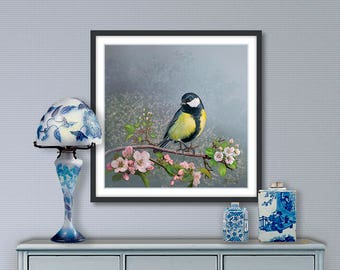 Digital painting, great tit, digital download and print on canvas or paper art