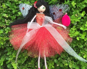Gift for any occasion.. Handcrafted lady in red cute fairy doll