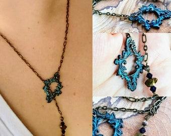 Adjustable patina pendant necklace