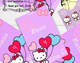 Hello Kitty, Invitation Cart, Party kids, Cat, Cute, Instant Download