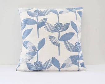 Floral Cushion, Blue Pillows, Plant Pillow, Blue and Cream Cushions, Soft Furnishings, Cotton Cushion, Home Decor, Decorative Pillow, Gift