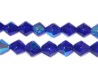 8mm Navy Bi-cone AB Finish Fire Polish Glass Bead
