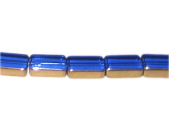 14 x 10mm Blue Vintage-Style Rectangle Glass Bead, approx. 10 beads