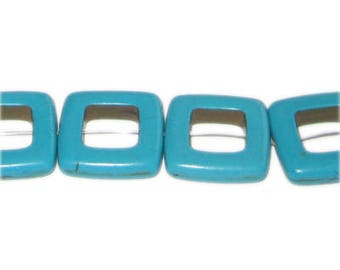 20mm Square Turquoise Charm, 13 charms