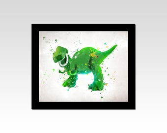 Toy Story inspired Rex watercolour effect print