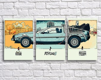 Back to the Future Art Print Set - Back to the Future 1, 2 and 3 Posters - Delorean Wall Art Decor - Science fiction Movie Artwork