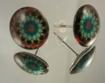 Flower pattern stud earrings, mosaic pattern stud earrings, Persian coloured earrings