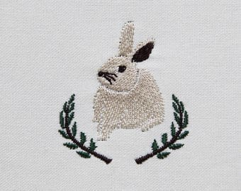 Rabbit, Rabbit embroidery, Machine embroidered pattern design - instant download