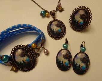 "Disney ""Cinderella"" theme 25x18mm glass cabochon bronze ornament."