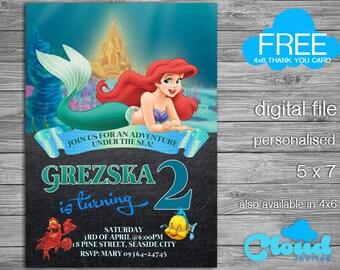 Little Mermaid Birthday Invitation, Ariel Birthday, Little Mermaid Party, Little Mermaid, Ariel Party, Birthday Printables