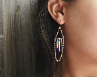Rainbow Quartz Point Earrings // Quartz Point Dangle Earrings // Raw Quartz Earrings // Rainbow Gemstone Earrings // Gold Filled Earrings //