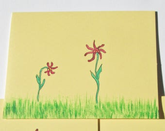 Hand painted yellow note cards, Flowers.