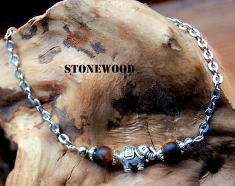 Bracelet elephant and Tiger eye beads