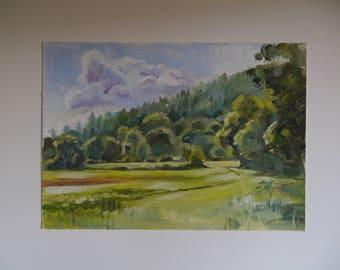Original Oil Plein Air Painting, Sunny Surrey Hills, 35x25cm
