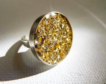 Golden Shimmer Ring, Gold Ring, Sparkle Ring, Glitter Ring, Gold Glitter Jewelry, Glitter Jewelry, Resin Jewelry, Resin Ring