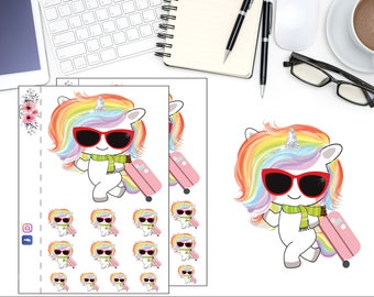 Unicorn Travels Planner Sticker, Traveling Unicorn Sticker, Rainbow Unicorn Sticker, Scrapbook Sticker, Planner Accessory