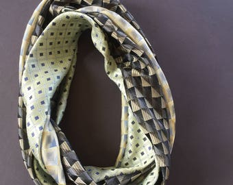Silk Cowl Infinity scarf made from recycle neck ties