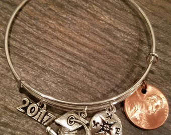 2017 Graduation Bangle, Graduation Gift, Graduation Cap and Diploma, Compass, 2017 Charm and Your Own Lucky 2017 Penny