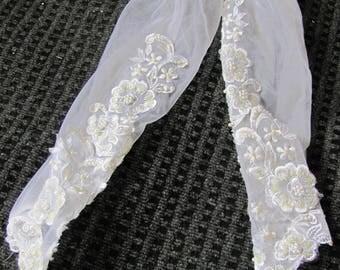 bridal sleeves, fingerless gloves, white tulle, vintage, lace, costume, bride, white, gloves, vampire bride, zombie bride, sleeves. 2980s