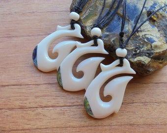 Maori Fish Hook Bone Necklace with Paua Shell Inlay, Hei Matau, Bone Pendant, Bali Bone Carving Jewelry  M02