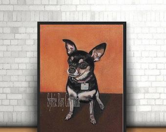 digital download, print, dog, wall decor, pastel drawing, instant, office, living room, download, image, handmade