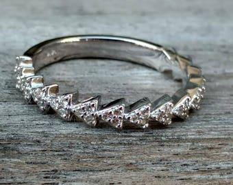Triangle Natural Diamond Ring , Natural Diamond Ring , Natural Diamond Stackable , Wedding Ring