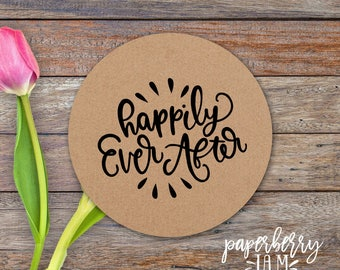 30 Wedding Stickers // Happily Ever After // Envelope Seal // 1.5 inch round Stickers // Wedding Invitations // Save the Date // Marriage
