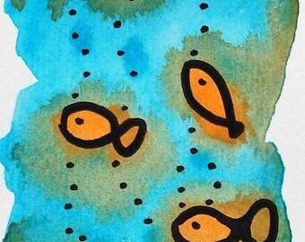 Waterverf goudvissen boekenlegger.