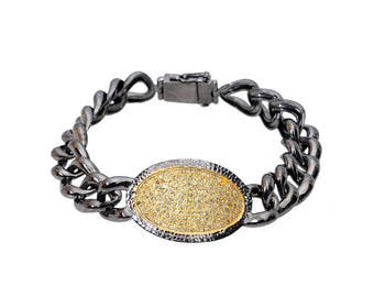 Diamond Link Bracelet with yellow center