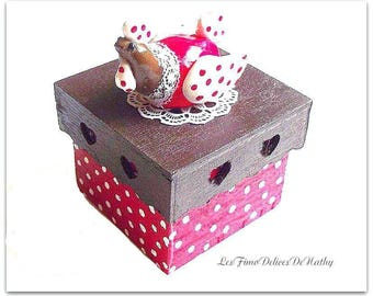 Other things chick wooden box pretty Easter in handmade fimo