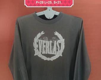 Vintage Everlast Shirt Long Sleeve Spellout Big Logo Shirt Black Colour Nike Shirts Polo RL Shirts Issey Miyake Shirts Champion Running Men