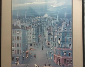 "Michel Delacroix ""Montemarte, Paris"" Art Lithograph Double Matted"