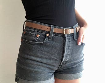 Brown Leather High-waisted Skinny Belt