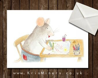 Cute Whimsical Mouse Greetings Card / Ideal Teacher Thank You Card - Blank - Mouseangelo