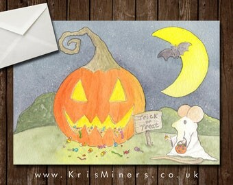 Whimsical Halloween Greetings Card - The Brave Little Mouse