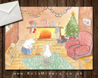 Whimsical Christmas Greetings Card - Coca by the Fire