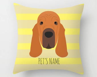 Bloodhound Pillow, Bloodhound Cushion, Decorative Bloodhound Cushion - Dog Pillow, Dog Gift, Custom Dog Name Pillow