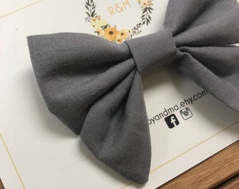Grey Sailor Bow, Sailor Bow, Cotton Bow