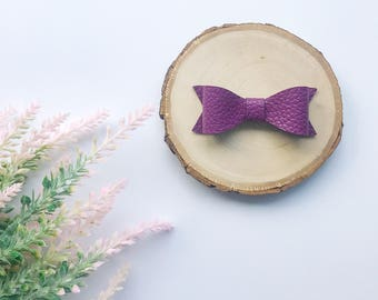 Purple Leather Bow, Faux Leather Bow